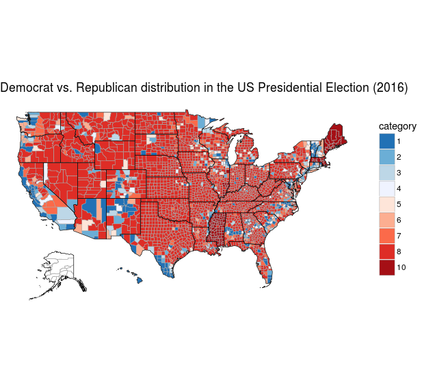 County Choropleth of 2016 US Election Results using R